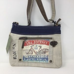 Cross body with repurposed canvas